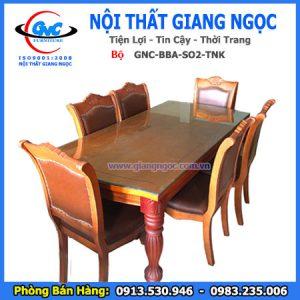 Bộ bàn ghế ăn gỗ mặt kính thái bình