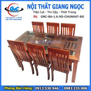 Bộ bàn ăn 1.6 gỗ xoan đào chữ nhật giá rẻ